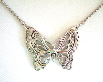 Sweet Butterfly Necklace Bright Shiny Silver Filigree Choker Adorable Cute Pretty Gift Under 10 Gift for Her Birthday Present