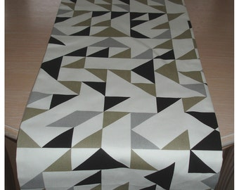 """72"""" Table Runner Black and Grey Taupe Beige Gray Funky Retro 180cm Modern Comtemporary Geometric Triangles 6ft"""