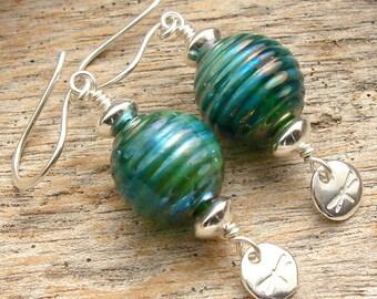 DRAGONFLY WINGS - Handmade Lampwork, Sterling Silver Earrings