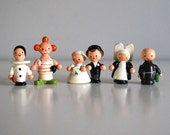 Italian Wood Figurines, Sevi Miniature People, Hand Painted Wood, Bride and Groom, Clowns, Nun Monk, Cute Couples, Kawaii Wood Toys