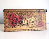 Antique Pyrography Box, Wood Burning Utility Box, 1910 Glove Box, Flemish Art, Red Poppy Flowers, Handkerchief Storage Container, Folk Art
