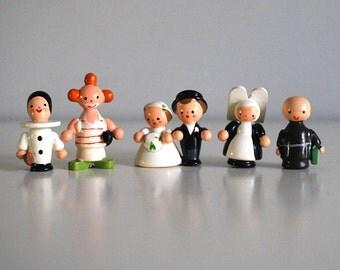 Italian Wood Figurines, Sevi Miniature People, Hand Painted Wood, Bride and Groom, Clowns, Nun Monk, Cute Couples, Kawaii Wood Toys