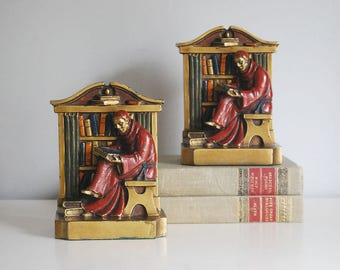 Aronson Monk Bookends, Cast Metal Bookends, Monk in Library, Polychrome Scholar Statue, Antique Art, 1920s Collectibles, Desk Accessories