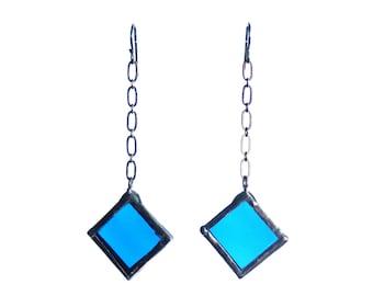STAINED GLASS EARRINGS - Blue Earrings