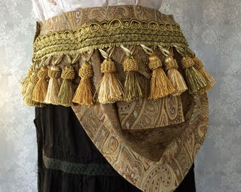 Sage green tribal fusion pocket belt - gold pocket belt with tassels - ren faire bellydance belt - Burning Man utility belt - Small