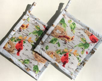 Cardinals in the Birch Trees Potholders, Cardinal Pot Holders, Cardinal Hot Pads, Hot Mats, Bird Theme Kitchen, Cardinal Decor