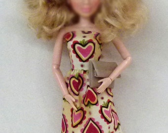 "11.5"" fashion doll Handmade dress with biege faux leather purse by Grizzly Creek"