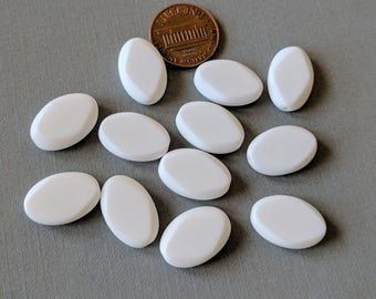 12 Chalk White Vintage German Table Cut, Tablet, Oval Glass Beads