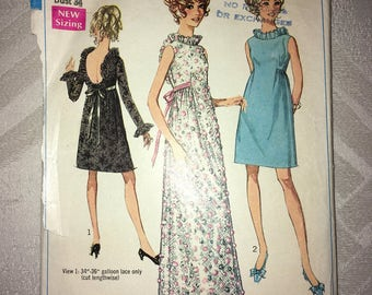 Vintage CUT Complete - 1968 Evening Party Dress Gown Sewing Pattern by SIMPLICITY #7949 Size 12 in 2 lengths Bust 34""