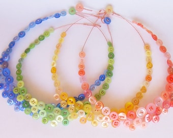 Button necklace - green, yellow or peach -ready to ship