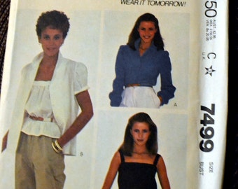 Vintage Sewing Pattern McCall's 7499 80's Misses' Blouse and Camisole Size 12 Bust 34  Complete Uncut FF