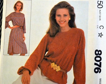 Vintage 80's Sewing Pattern McCall's 8076 Misses' Pullover Top or dress   Size Small Bust 32-34 Complete Uncut FF