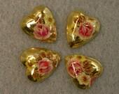 Vintage Japanese Tensha Cabochon PORCELAIN GOLD HEART Pink Rose 10mm pkg4 por211