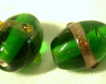 Vintage Glass Beads JAPANESE GREEN AVENTURINA 13mm pkg 4 gl138