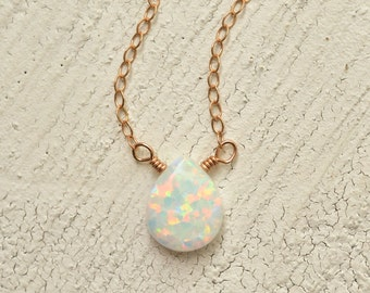 Simulated white opal solitaire necklace 14kt rose gold-filled white stone necklace multi-colored necklace Kahili Creations made in Hawaii