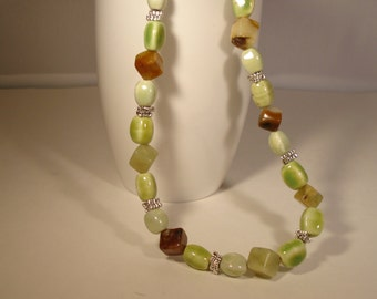 green serpentine and ceramic beaded necklace