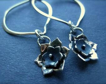 Lotus Flower Sterling Silver Hoop Earrings