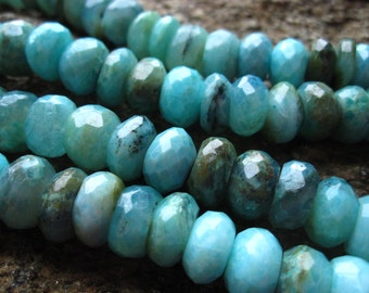 Peruvian Opal beads faceted rondelles - stone beads - 6 1/2 inches 10mm X 5mm