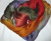 Hand dyed Tencel Yarn - 900 yds. Lace Wt. Tencel Yarn - TIGER LILY