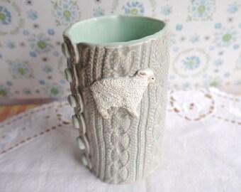 Ceramic Porcelain Clay Sheep Tumbler, Knit Texture Mug, Grey and Mint Green, FREE Shipping Within Continental USA