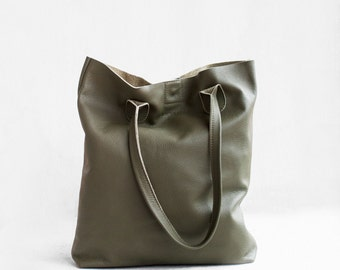 The Essential Tote in Military Green / Leather Tote Bag  / Green Tote Bag / Leather Handbag / Green Leather Tote /Leather Handbag /Green Bag