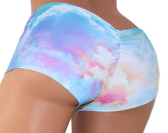 Pastel Rainbow Clouds Scrunch Butt Booty Shorts Adult All Sizes- MTCoffinz (Choose Standard Boy Shorts or Lo Rise)