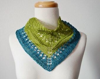 Spring Feverish Hand Knit Mini Scarf - Lightweight Knit Neckerchief/Headwrap with Shell Button - Lace Spring Bicolor Handknit Mini Bandana
