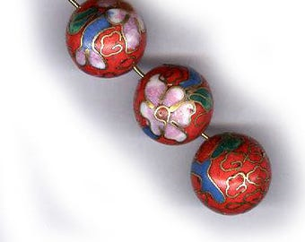 vintage cloisonne beads, flowers on TOMATO RED background round antique cloisonne beads THREE 15mm beads vintage beads