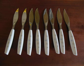 Mode Danish Stainless Sheffield England Mid Century Modern Atomic Steak Knives Set of 8