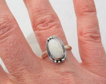 15% OFF Australian Opal Ring, Silver Opal Ring, Artisan Jewelry, Sterling Silver Ring, Size 7, Natural Opal Jewelry