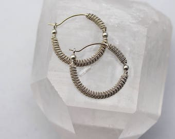 Coil and Bead Wire Wrapped Earrings, Sterling Silver Hoops, Hoop Earrings, Bali Silver, Wire Wrapped Jewelry, Handmade