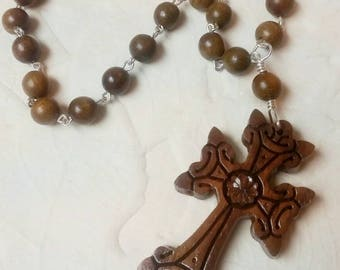 I Confess With Faith Rosewood Prayer Beads with Armenian Cross