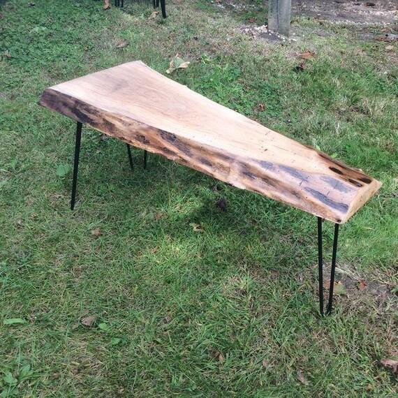 Legs For Live Edge Coffee Table: Live Edge Walnut Slab Hairpin Leg Coffee Table