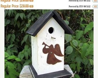 Snow Storm Sale White Black Primitive Birdhouse Rusty Angel With Harp