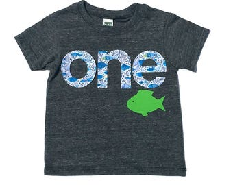o n e //First Birthday//Fish Theme//Fabric Iron On Applique Letters//Other Numbers Available//NEW DESIGN