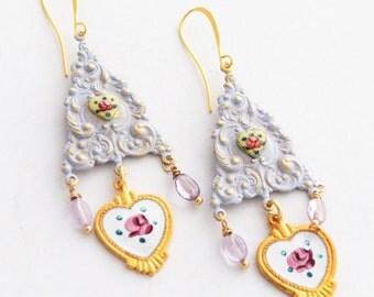 Shabby Chic Dresden Rose Earrings, Vintage Enamel Heart Charm Earrings, Hand Painted Cottage Chic Earrings, Purple Amethyst Earrings SRAJD