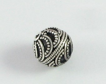 Swirly Dots Bali Sterling Silver Bead 12mm Round Focal Bead with Antiquing and Granulation (1 bead)