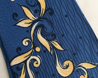 1950's Necktie New Old Stock Tie with Tags Rayon Wilcrest in Floral Scroll Blue and Yellow Geometric