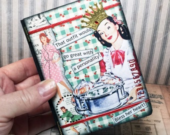 ooak handmade atc sized bitchy faux book box with 3 atcs included