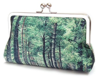 Woodland trees clutch purse, green forest bag, woodland wedding, bridesmaid gift, tree handbag