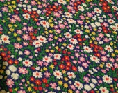 Red Pink Blue Green Floral Printed Vintage 1970s Cotton - 1 1/3 Yards - Fabric Yardage / Woven Fabric / Cotton Fabric / 1970s Fabric