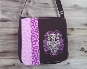 Purple owl flap for MEDIUM messenger bag, changeable flap collection**FLAP ONLY**