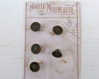 Réserverd to mari Antique 1890/1900 French Victorian round carved metallic buttons  set of 5t