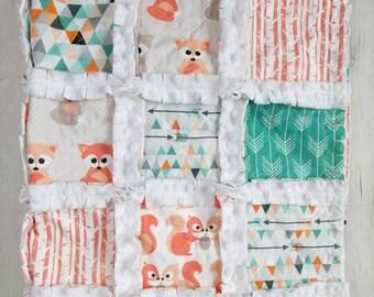 Fox Baby Quilt - Squirrel Quilt - Gender Neutral Quilt - Baby Boy Quilt - Arrow Quilt - Woodland Quilt - Squirrel Quilt - Fox Baby Gift