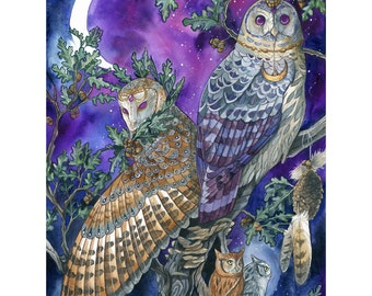 ORIGINAL - Night Magic - Watercolor Painting - Fantasy Barn Owl with Moon in Purple Sky Art