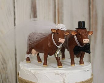 Cow Cake Topper-Animal Wedding Cake Topper-Farm-Red Angus Cow and Bull-Barn Wedding Cake Topper-Farmer Boy and Girl-Cow Bride and Groom
