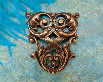ANTIQUE COPPER * Crest French Lattice and Scroll Stampings ~ Jewelry Findings (FA-6073)