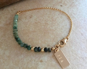 Emerald Bracelet Ombre Genuine Emeralds and Gold Bracelet Personalized Fine Handmade Jewelry Bridal Bridesmaids Gift Idea
