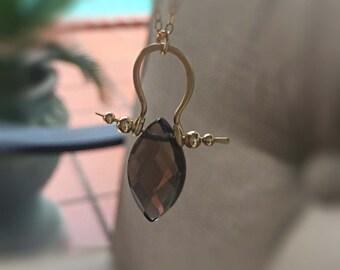 Gemstone Necklace Handmade Fine Jewelry Bohemian Jewelry Smoky Quartz Necklace Gold//Silver Bridesmaids Gift Wedding Jewelry Chic Boho Style