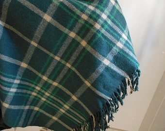 Vtg wool plaid tartan camp blanket, extra large throw - 1940 50s forest green, rustic lodge cabin